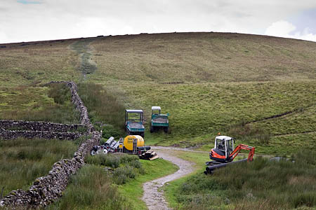 Work began on the diversion route on the Yorkshire Three Peaks route