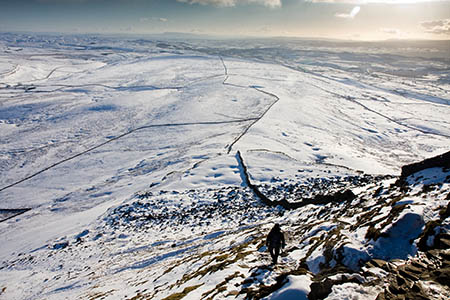 The route ascends Pen-y-ghent in the Yorkshire Dales