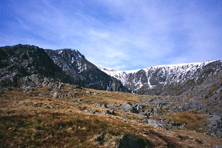 Pen Yr Ole Wen, left, and Cwm Lloer. Photo: Richard Webb