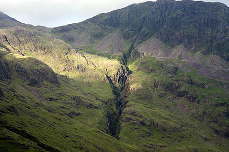The man fell on steep ground beside Piers Gill
