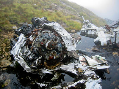 Aircraft wreckage, such as this on Ben Lui, is fairly common