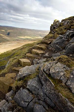 Steps up the limestone escarpment of Plover Hill