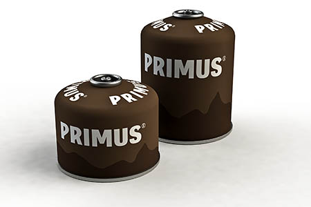 Primus Winter Gas canisters, part of a new colour-coded branding for the three different varieties of fuel