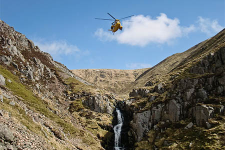 An RAF Sea King joined the search and found the man after about half an hour. Photo: BSARU