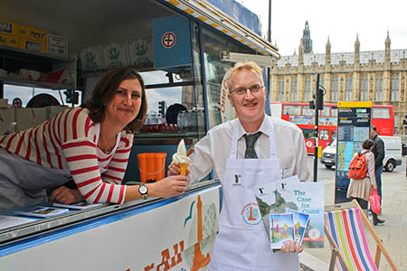 Benedict Southworth and Nicky Philpott turn ice-cream vendors for the day