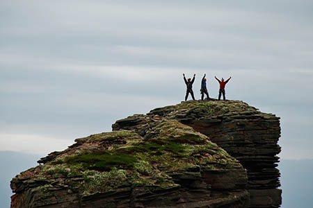 The three climbers on top of the Old Man of Hoy. Photo: Keith Partridge