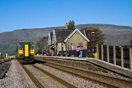 Ribblehead station, with Whernside in the distance