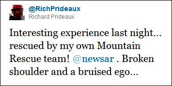 Richard Prideaux Tweeted after his accident