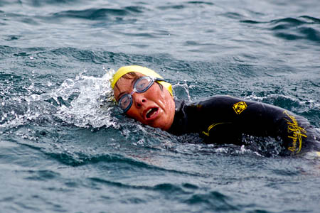 Rohan Betys swims the Gulf of Corryvreckan. Photo: Rory Syme/John Muir Trust
