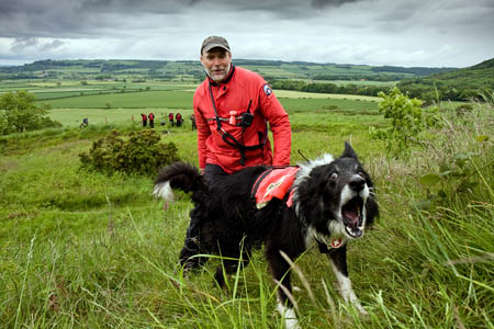 Looks fierce, but Hamish is just barking to indicate for his handler Pete Thompson
