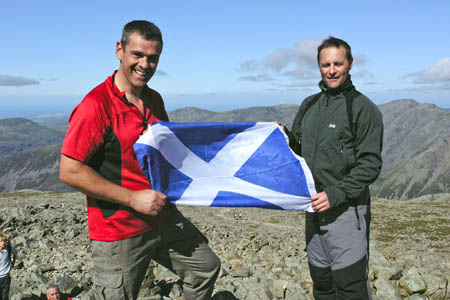 Stuart Welsh, left, and Kevin Beck on top of Scafell Pike