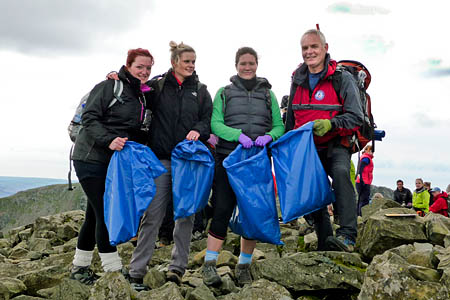 Richard Warren with the litter pickers on Scafell Pike