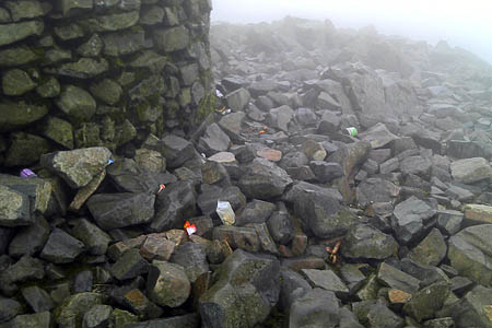 Rubbish should be taken from the mountain by visitors, not left at the summit