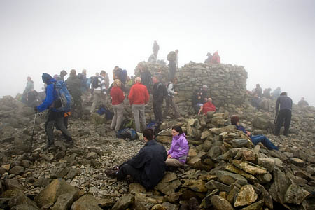 A busy day on Scafell Pike in 2008 as Cumbrians gather to celebrate the upcoming Olympics