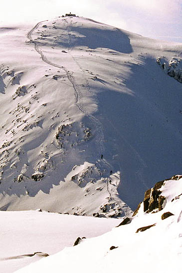 England's highest mountain has hard snow on its upper slopes at present. Photo: John Proctor CC-BY-SA-2.0