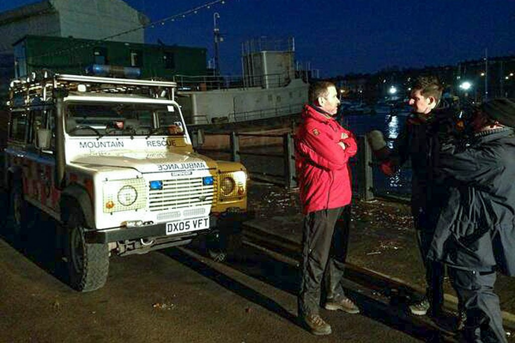 The Scarborough and Ryedale team is interviewd by television crews during a previous flood alert. Photo: Scarborough and Ryedale MRT
