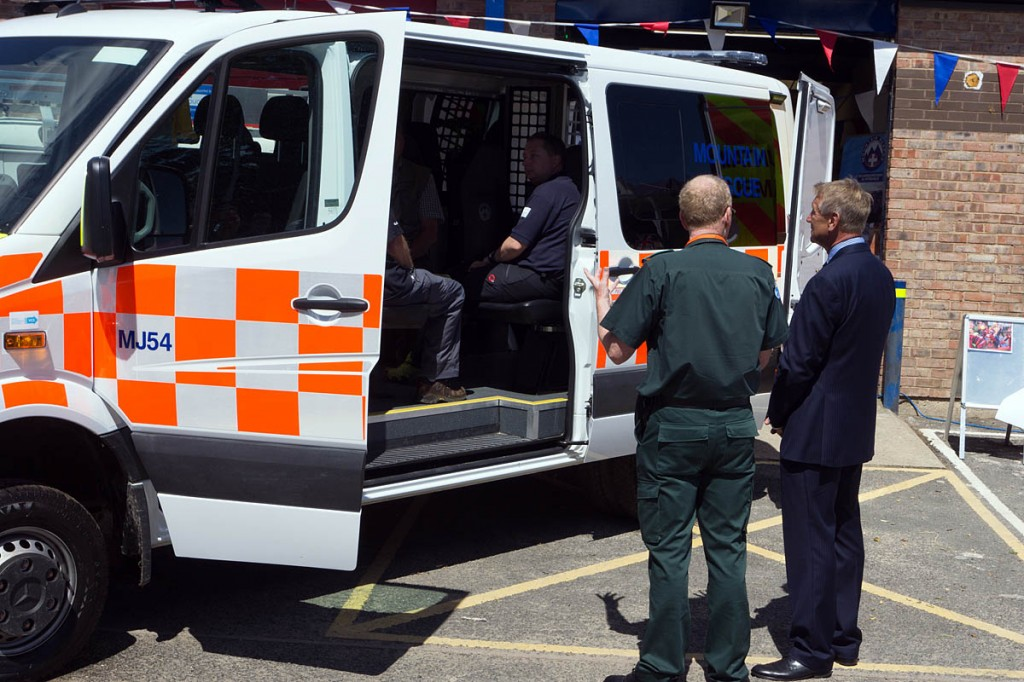 `Neil Marsey of Yorkshire Ambulance Service, left, and the lord lieutenant view the new vehicle