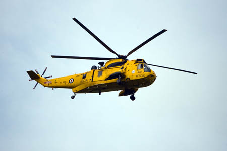 An RAF Sea King winched the man's body from Scafell