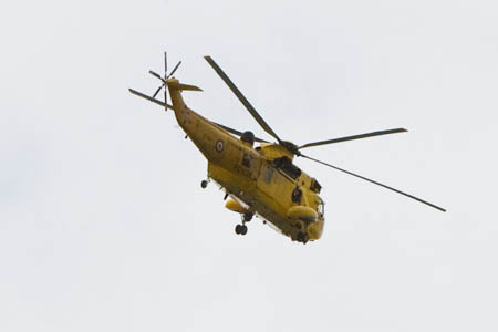 The injured girl was stretchered to an RAF Sea King