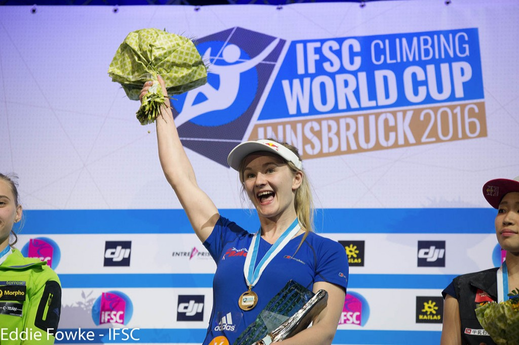 Shauna Coxsey celebrates another gold at Innsbruck. Photo: Eddie Fowke/IFSC