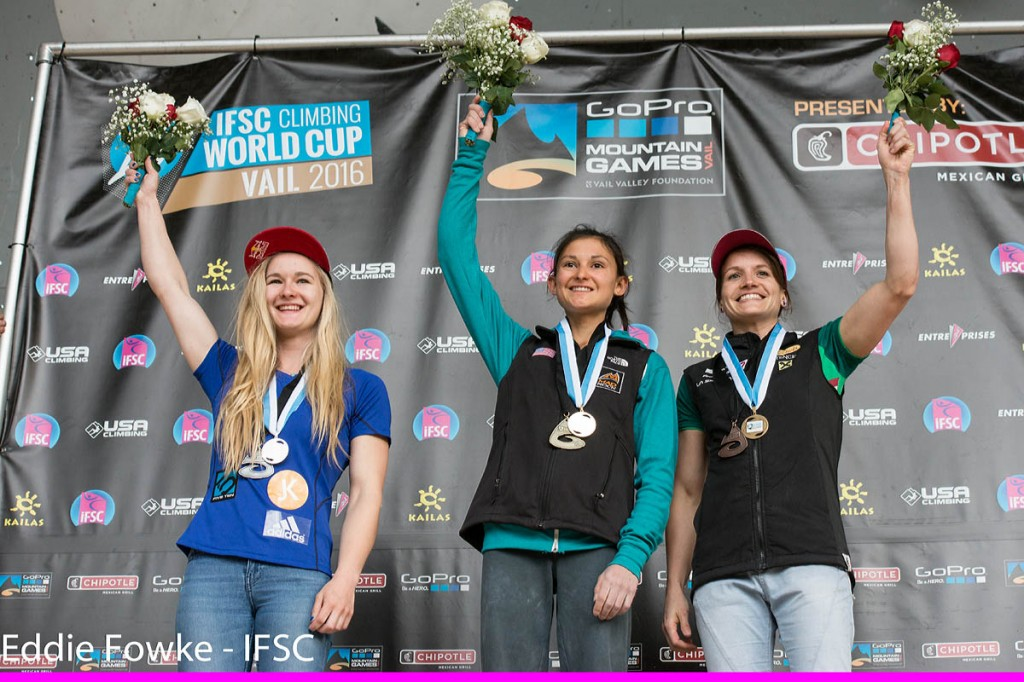 Shauna Coxsey, left, joins gold medal winner Megan Mascarenas and third place Anna Stöhr of Austria on the Vail podium. Photo: Eddie Fowke/IFSC