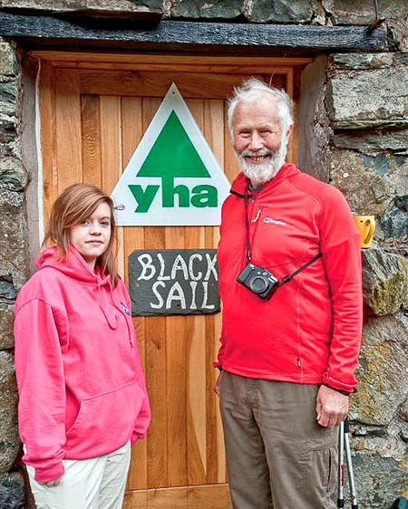 Sir Chris Bonington with a member of the Postellers YHA Group at Black Sail
