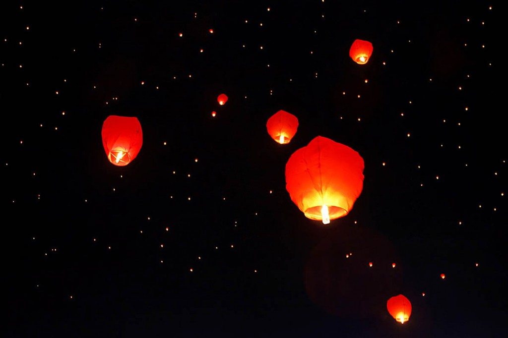 The launch of the sky lanterns risked sparking more wildfires