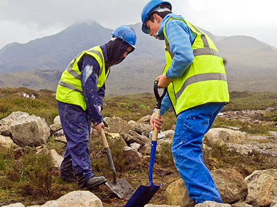 Students from Portree High School work at the site of the heritage project at Sligachan. Photo: Steve Tinney