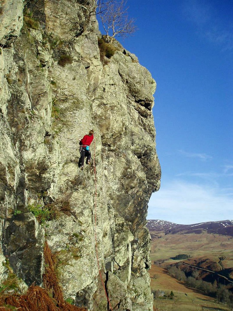 A climber on Lednock Crag near Comrie. Photo: Kev Howett