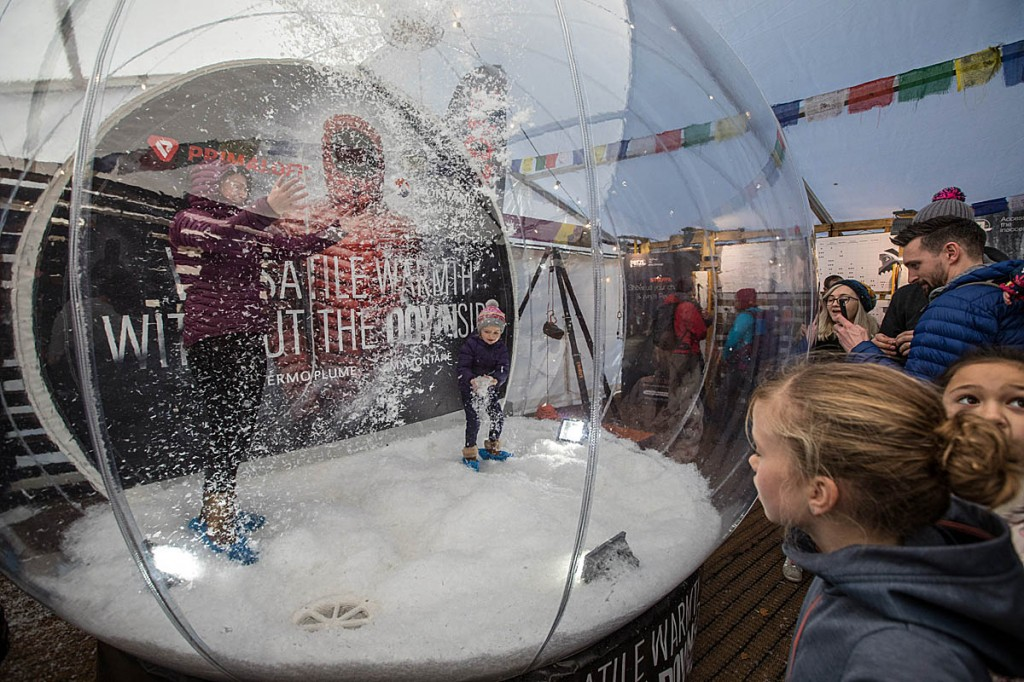 Playtime in the PrimaLoft snowglobe. Photo: Bob Smith/grough