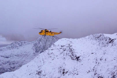 An RAF Sea King flew two of the walkers to hospital. Photo: Aberglaslyn MRT