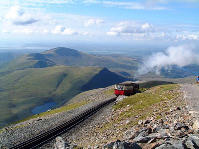 The man in the wheelchair was evacuated from by the Snowdon Mountain Railway. Photo Andrew Farquhar CC-BY.2.0