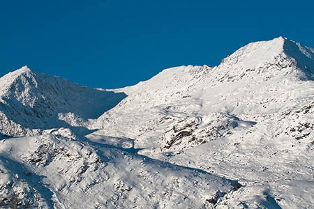 Snowdon has areas where snow is unstable and dangerous, wardens said. Photo: Snowdonia NPA