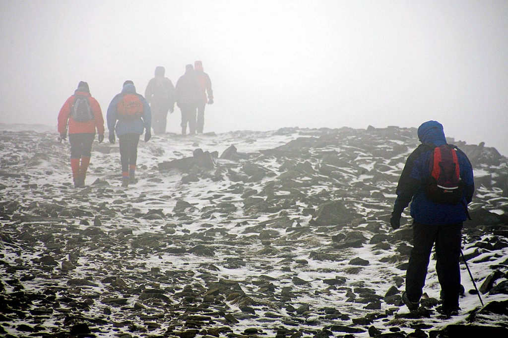 Walkers in winter conditions. Photo: Bob Smith/grough