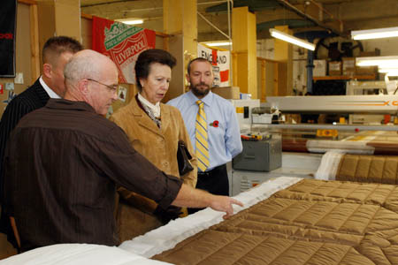 Princess Anne visits the Snugpak factory, during which she presented the award