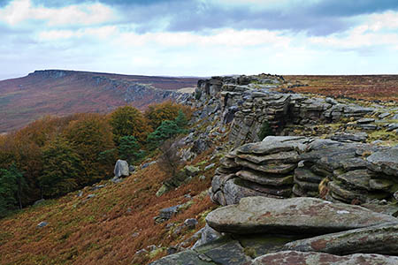 One of the climbers fell at Stanage Edge