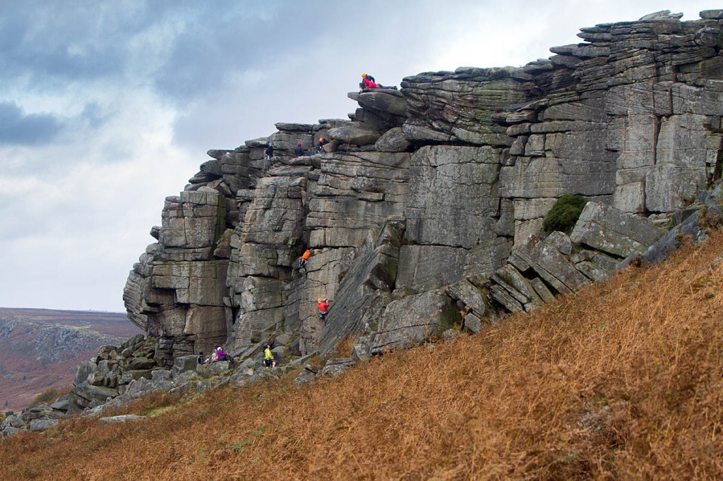 The pole stands close to the popular climbing venue Stanage Edge