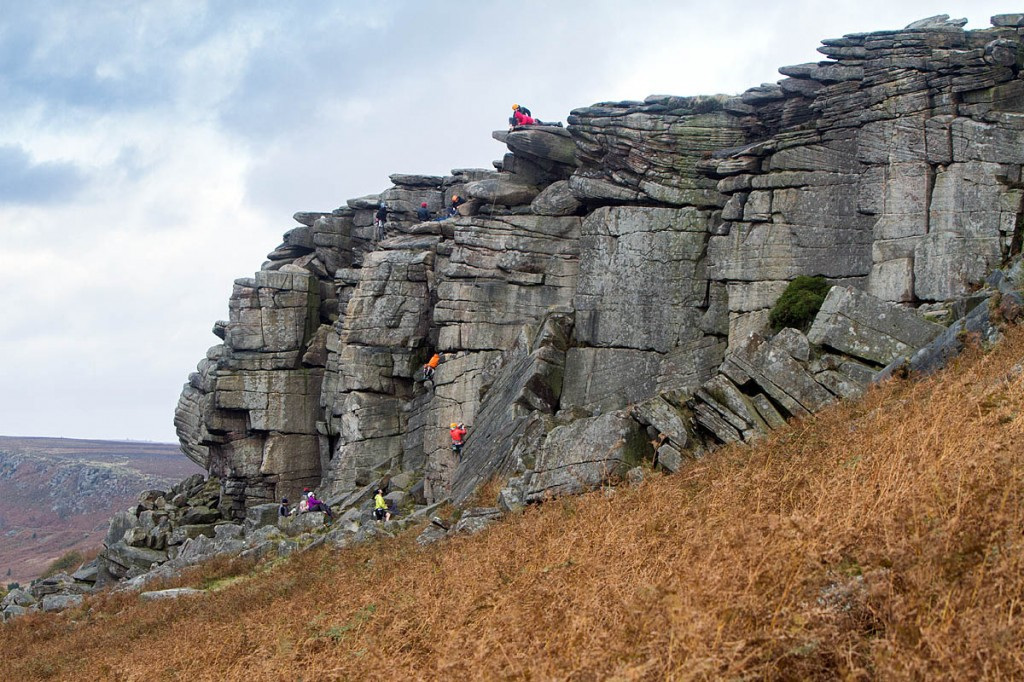 Initial reports suggested the injured climber was cragfast at Stanage Edge