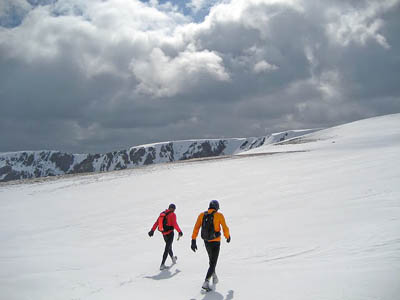 Spyke and companion during the record-breaking munro round
