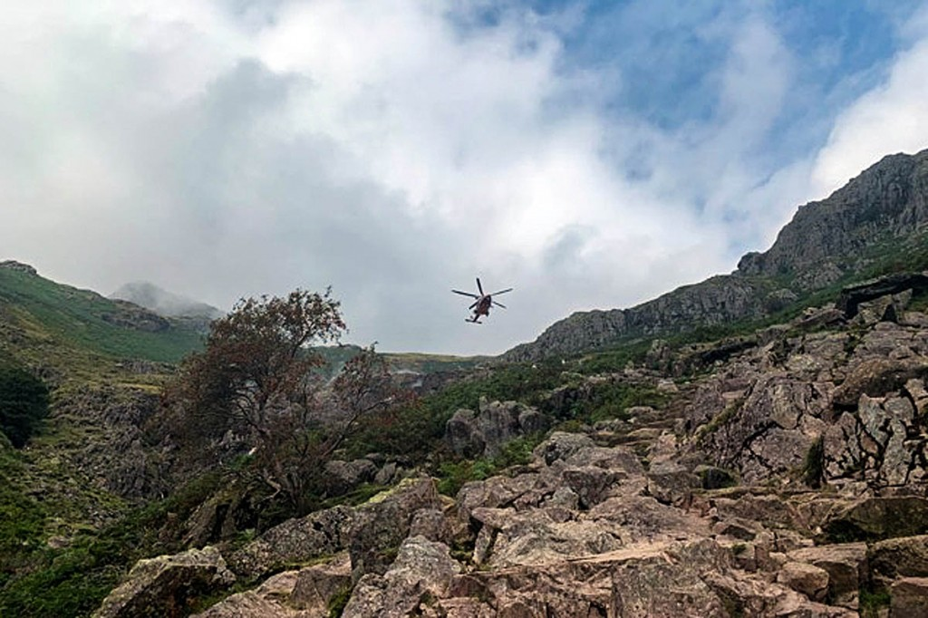 The Coastguard helicopter above Stickle Gill. Photo: Ian Goodall