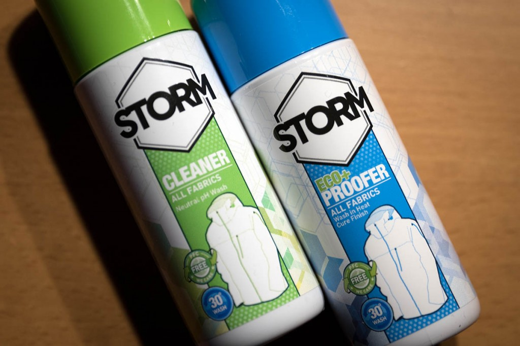 Specialist products such as these from Storm can be used to wash and re-proof garments