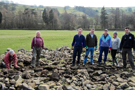 Sergeant Grainger, right, with police colleagues and Dales Volunteers. Photo: Yorkshire Dales National Park Authority.