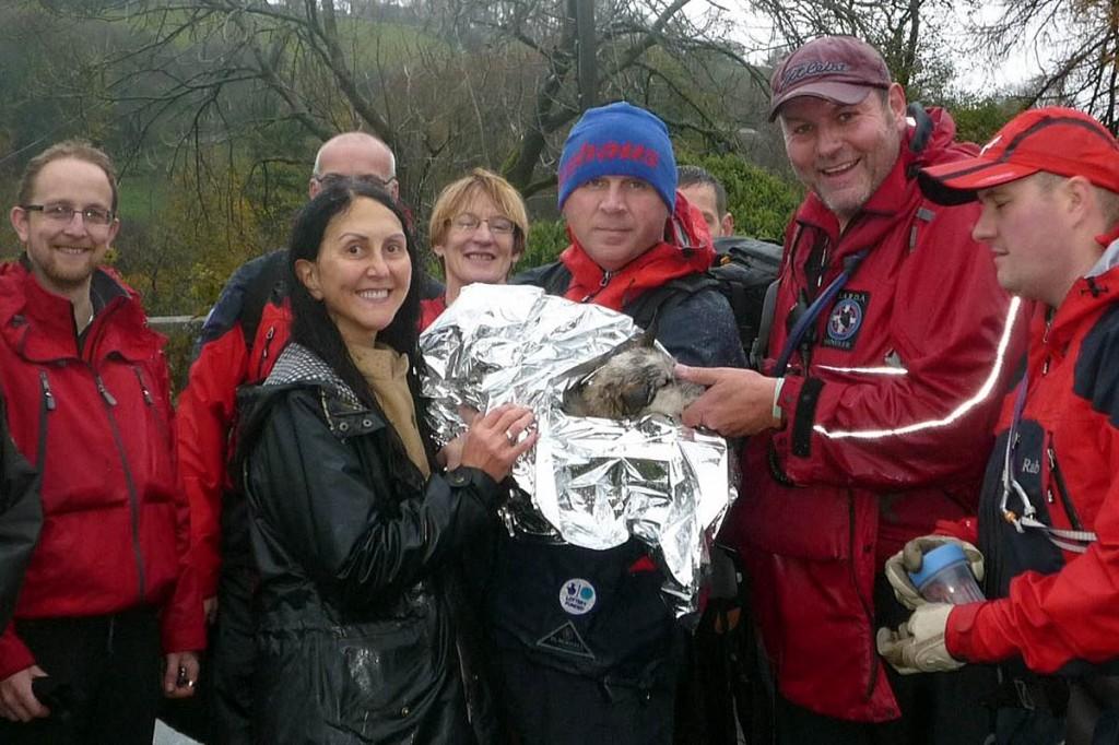 Hilda is returned to her owner Liz Jones by the Swaledale Team. Photo: Swaledale MRT