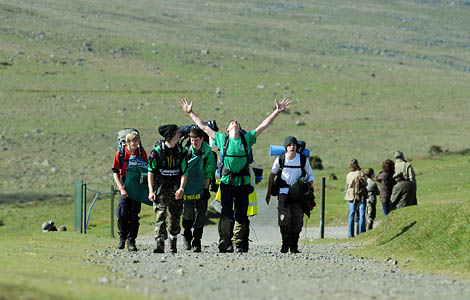 Jubilation for one finisher on the Ten Tors. Photo: Sergeant Adrian Harlen, Crown Copyright