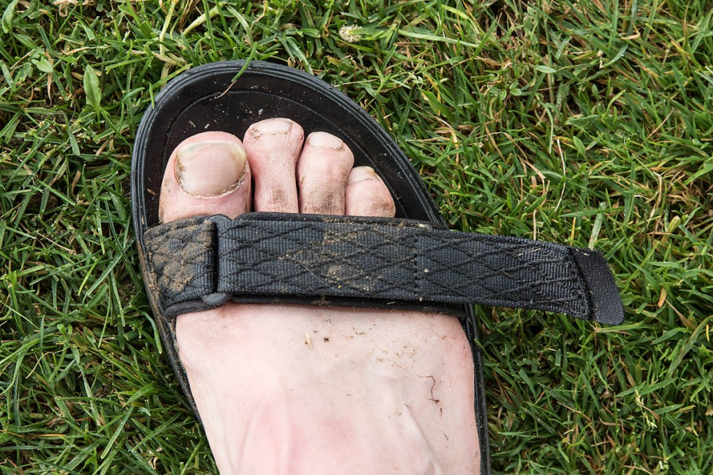 We tested the sandals in the dry and the wet. The front strap protruded markedly when fully tightened. Photo: Bob Smith/grough