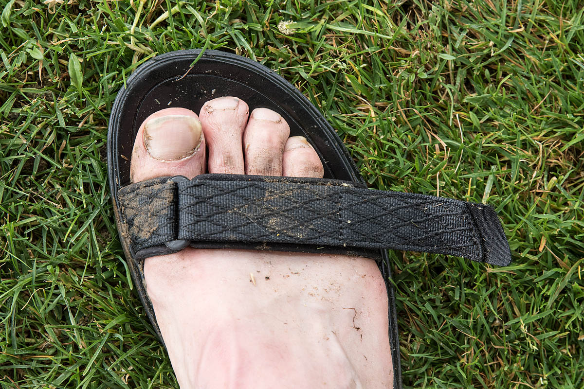 b22113541071 We tested the sandals in the dry and the wet. The front strap protruded  markedly when fully tightened. Photo  Bob Smith grough