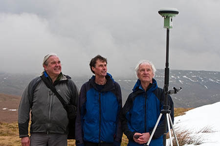 The hill sleuths on Thack Moor with their GPS receiver: from left, Myrddyn Phillips, Graham Jackson and John Barnard