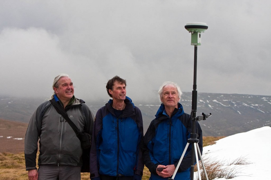 The hill sleuths watch data being gathered on a dull day in the North Pennines: from left, Myrddyn Phillips, Graham Jackson and John Barnard