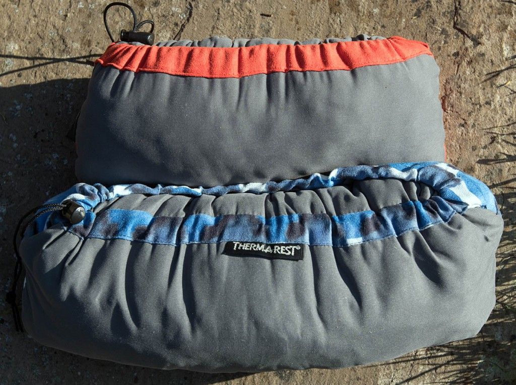 Therm-a-rest Compressible Pillows packed up: small, top, and large