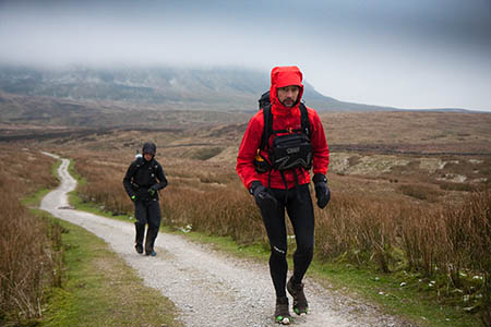 Eighth-placed Challenger finisher Warwick Gooch, right, leads The Spine runner Joel Jaile Casademont on the descent of Pen-y-ghent last year